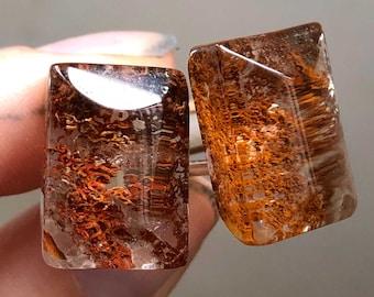 Red included quartz cufflinks. Lodolite cuff links. Chlorite, hematite inclusion, clear quartz, stone cufflinks. Boyfriend gift, dad gift