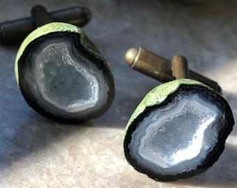 Tabasco Geode Cufflinks, Druzy White Quartz & Calcite. Gift for him, husband gift, boyfriend gift, anniversary for him, geologist, rockhound