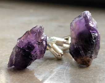 African Amethyst Crystal Cufflinks. Deep Purple Zambia Amethyst, raw stone cufflinks, wedding cufflinks. February birthstone men, Pisces men