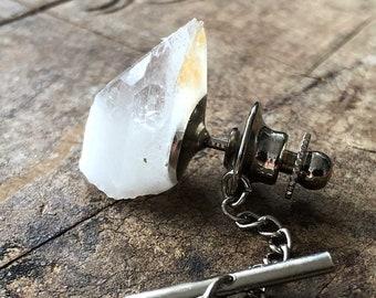 Quartz Crystal Tie Tack, raw quartz crystal point tie pin. April birthday men, birthstone tie tack. Geologist, groom tie pin, husband gift