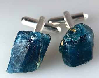 Blue Apatite Crystal Cufflinks. Blue cufflinks. Gift for Dad, Father of the Bride gift, something blue, grooms cufflinks, best man gift