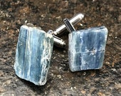 Blue Kyanite Cufflinks. Something blue, raw stone cufflinks, men's wedding cuff links. Father of the Bride, best man gift, Grooms cufflinks
