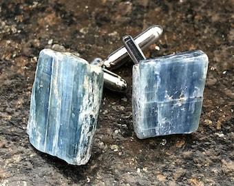 Blue Kyanite Cufflinks. Something blue, gift for him. Raw stone cufflinks, men's wedding cuff links. Father of the Bride, best man gift