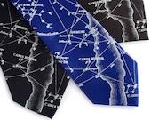 Galaxy necktie. Night sky constellation print tie. Men's celestial, star chart tie. Ice blue print. Your choice of tie colors.