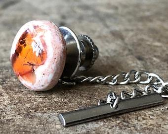Fire Opal Tie Tack, Mens Tie Pin. Libra Birthday Men; deep orange, red, jelly opal, orange wedding, October birthstone men, husband gift