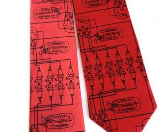 Spark Plug necktie. Car guy men's tie. Motor city automotive schematic. Mechanic gift, car collector gift, greasemonkey gift.