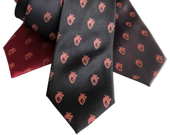 Tiny Human Hearts Necktie, Anatomical heart tie, gift for him. Cardiologist present, heart doctor, valentine gift for him, med student gift
