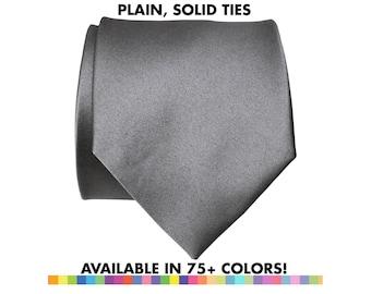 Solid Color Necktie. Plain tie, no print. Vegan ties, groomsmen ties. Charcoal grey & more! Necktie for groom, groomsmen, wedding party gift
