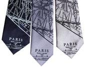 Paris Map Necktie. French Map men's tie. Map of Paris France, tie for groom. Paris wedding, Parisian, destination wedding in Paris, France
