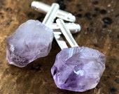 Amethyst Cufflinks. Amethyst point, raw stone cuff links, men's wedding cufflinks. February birthstone, gift for best man, Grooms cufflinks