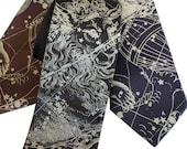 Capricorn Necktie, Zodiac Constellation men's silk tie. December birthday, January birthday mens astrology gift Horoscope tie astronomy gift