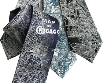 Chicago Map Necktie. Vintage City Map Print Tie. Cubs fan gift, Windy City. Choose standard or narrow. Available in extra long or skinny!