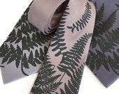Fern leaf Tie. Botanical print, men's necktie. Skinny tie, or wide tie. Floral tie, foliage, leaf print tie. Outdoor wedding, groomsmen gift