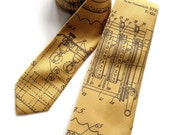 Enigma Machine men's tie. Patent illustration necktie. Choose honey gold silkscreened woven microfiber and more. Homage to Alan Turing.