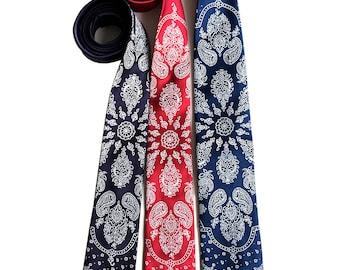 fc3ec1909512 Bandana Print Necktie. Paisley bandanna men's tie. Cowboy necktie. Vintage  inspired, rustic Americana. White on red, navy blue & more.