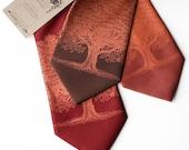 Oak Tree screenprinted microfiber necktie, copper ink