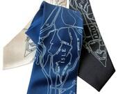 Belle Isle Silk Necktie, Vintage Detroit Map Print Tie. Detroit gift. Choose standard or narrow width.