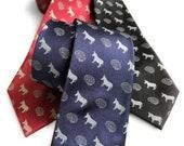Smart Ass Necktie, Brain & Donkey Print Tie. Tiny pattern necktie. Sarcastic genius gift, rebus necktie.