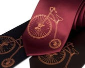 """Antique Bicycle necktie. Vintage hiwheel bicycle """"Penny Farthing"""" Victorian design satin mens tie. Gift for bike enthusiasts, history buffs"""