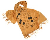 """Honeybee scarf. Large Beehive """"Oh Honey"""" soft pashmina. Perfect for bee keepers, apiary gift, fans of honey bees. Urban beekeeper gift."""