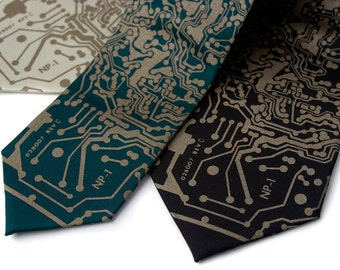 circuit board tie etsycircuit board tie short circuit print, men\u0027s necktie geeky grad gift for men, computer science, it guy, computer programmer, engineer