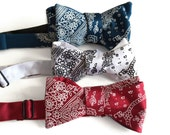 Bandana Print bow tie. Classic paisley bandanna print cowboy bowtie. Vintage inspired, rustic Americana. White on red, navy blue & more.