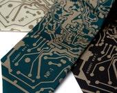 Circuit Board Tie, men's necktie. IT guy gift, computer programmer, geek gift men, electrical engineer, boyfriend gift, science ties
