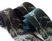 Absinthe silk necktie - wormwood leaves. Screen printed tie, sage print. Choose silk tie color.