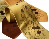 """Honeybee Necktie. Silkscreened Bee Hive men's necktie, """"Oh Honey"""", chocolate brown ink. Mustard yellow, gold, cinnamon microfiber & more."""