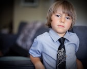 Victorian Gears boys necktie. Baby, toddler, or youth big kids size tie. Dove gray printed silkscreen design.