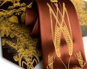 Hops Necktie. Beer Print Tie. Gift for beer lover, craft beer drinker, bartender, home brewer. Silkscreen mens tie by Cyberoptix