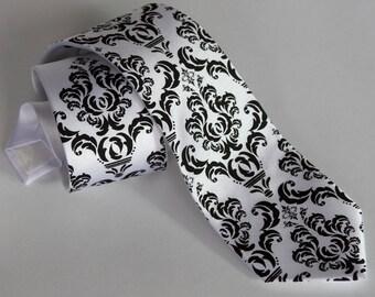 1baf0c5a599b Damask Tie. Classic filigree wedding necktie. Elegant black and white damask  groom's tie. Wedding ties floral, tie for groomsmen, best man