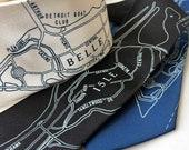 Belle Isle Necktie, Detroit Map Print Tie. Choose standard, narrow or XL