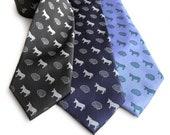 Smart Ass Silk Necktie, Brain & Donkey Print Tie. Tiny pattern necktie. Sarcastic genius gift, rebus necktie.
