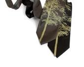 Aspen necktie. Tree silhouette 100% silk tie, moss green print. Choose standard or narrow width.