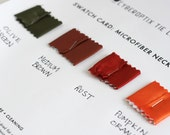 6 fabric only microfiber necktie swatch samples. Color matching card for custom order ties. Choose from 75 tie fabric colors.