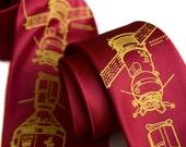Apollo Soyuz Tie, Cosmonaut necktie. USSR, Soviet Russia, red edition. Rocket science, space exploration, space race, cold war, science tie