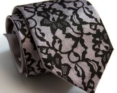 "Lace necktie. ""Boudoir  Lace."" Screen printed tie, black print. Choose standard, narrow or skinny size."