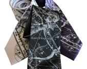 Sagittarius Celestial Necktie Zodiac Constellation Horoscope Tie. November or December birthday gift.  Star Chart men's tie Astrology gift