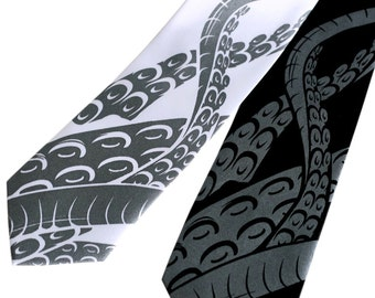 5899677ab6b190 Squid Necktie. octopus Tentacle print tie. Sucker screen printed men's  necktie. Choose black or white tie; skinny, narrow or standard size.