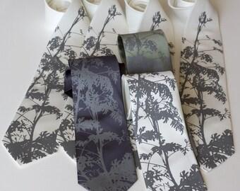 13 Custom wedding neckties. 30% Groomsmen group discount. Matching screenprinted design. Groomsmen vegan-safe ties.