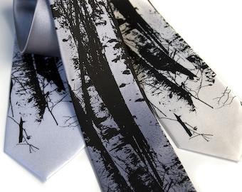 Birch Trees tie. Silkscreen design, microfiber necktie. Choose standard or narrow size.