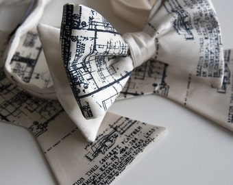 Architect Bow Tie. Blueprint bowtie. Men's bow tie, navy silkscreen print on cream bowtie & more. Architect gift, urban planners.