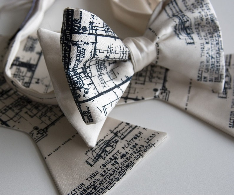 Architect Bow Tie. Blueprint bowtie. Men's bow tie navy image 0