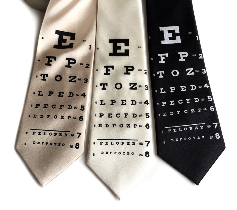 Eye Chart Necktie Doctor gifts tie for physician. Man with image 0