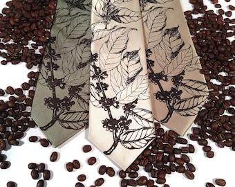 Coffee necktie. Men's tie, silkscreened coffee tree botanical print, espresso brown. Your choice of microfiber tie colors and width.
