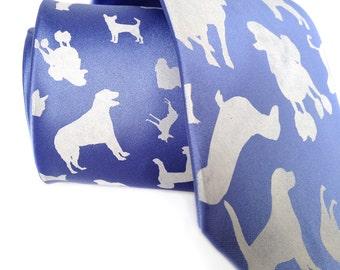 "Dog necktie. ""Putting on the Dog."" Mens silkscreened necktie. Choose standard or narrow width. Vegan safe microfiber."