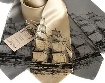 Clipper Ship men's silk necktie. Nautical print silkscreen tie. Black print. Your choice of tie colors.