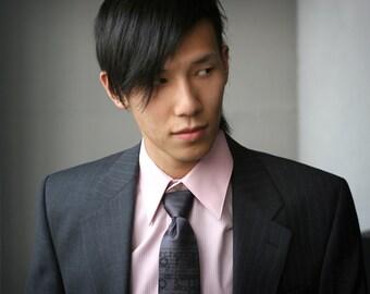 "Mod screen printed necktie ""Placeholder."" Lorem Ipsum microfiber tie. Choose narrow, standard, skinny or extra long."