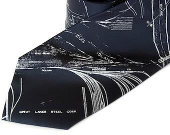 Map tie - Detroit, Michigan. River Rouge & Zug Island. Silkscreened necktie, white print. Microfiber. Choose standard or narrow.